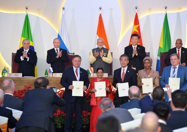 At this October 16, 2016 photo Russian President Vladimir Putin is seen at the ceremony of signing joint documents following a meeting of BRICS leaders at Taj Exotica Goa hotel, India