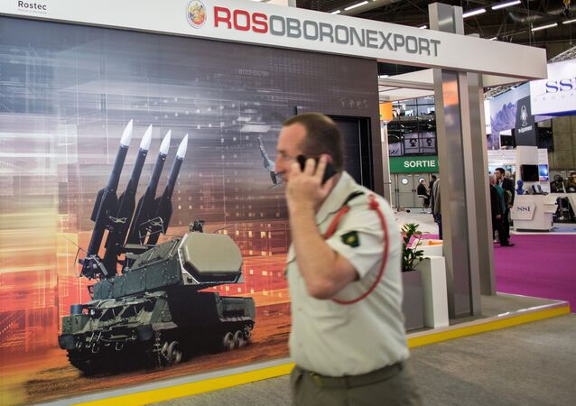 The Rosoboronexport stand at the EUROSATORY international defense exhibition in Paris