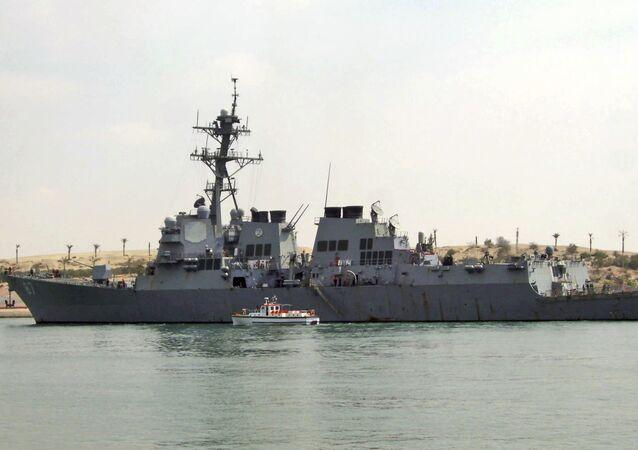 U.S. destroyer USS Mason sails in the Suez canal in Ismailia, Egypt.