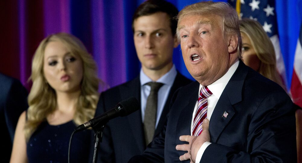 Republican presidential candidate Donald Trump is joined by his daughter Tiffany, left, and son-in-law Jared Kushner as he speaks during a news conference at the Trump National Golf Club Westchester,  June 7, 2016, in Briarcliff Manor, NY.