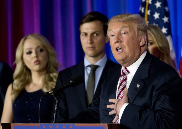 Donald Trump is joined by his daughter Tiffany, left, and son-in-law Jared Kushner as he speaks during a news conference at the Trump National Golf Club Westchester on  7 June 2016 in Briarcliff Manor, NY.