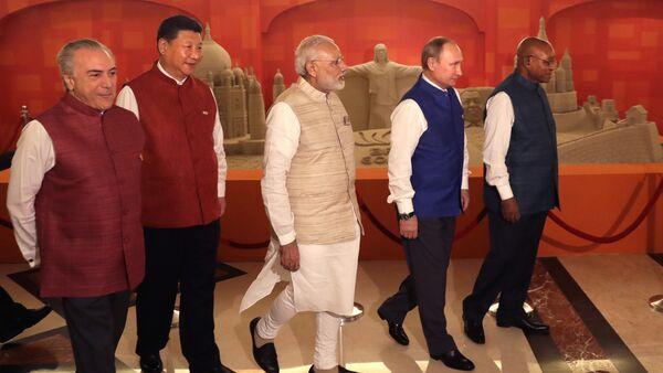 Leaders of BRICS nations, from left, Brazilian President Michel Temer, Chinese President Xi Jinping, Indian Prime Minister Narendra Modi, Russian President Vladimir Putin and South African President Jacob Zuma. file photo - Sputnik International