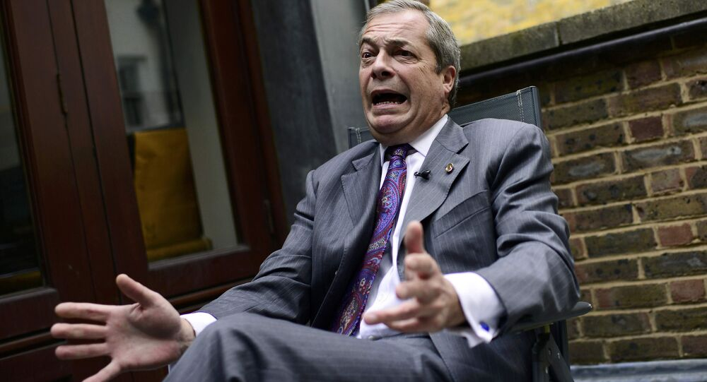 Former UKIP leader Nigel Farage speaks during an interview with Reuters at his Westminster office in London, Britain September 21, 2016.