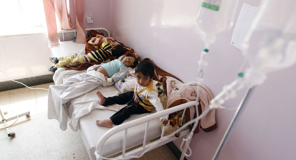 Yemeni children receive treatment at a hospital in the capital Sanaa on October 11, 2016