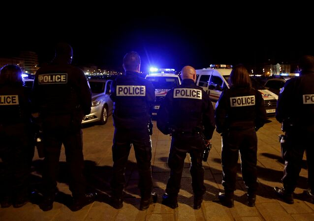 Police officers gather during an unauthorised protest against anti-police violence at the old harbour in Marseille, France, early October 19, 2016