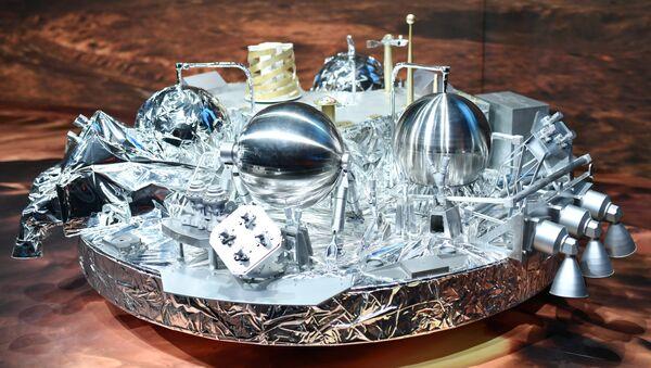 A model of Schiaparelli· the mars landing device , is on display at the European Space Agency, ESA, in Darmstadt, Germany - Sputnik International