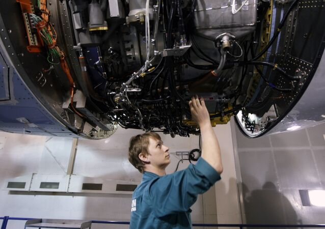In the SaM146 engine assembly shop at the NPO Saturn research and production center.