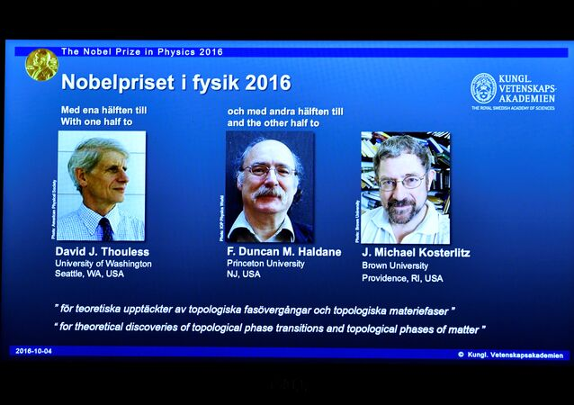 A screen showing pictures of the winners of the 2016 Nobel Prize for Physics during a news conference by the Royal Swedish Academy of Sciences in Stockholm, Sweden October 4, 2016. From left: David Thouless, Duncan Haldane and Michael Kosterlitz.