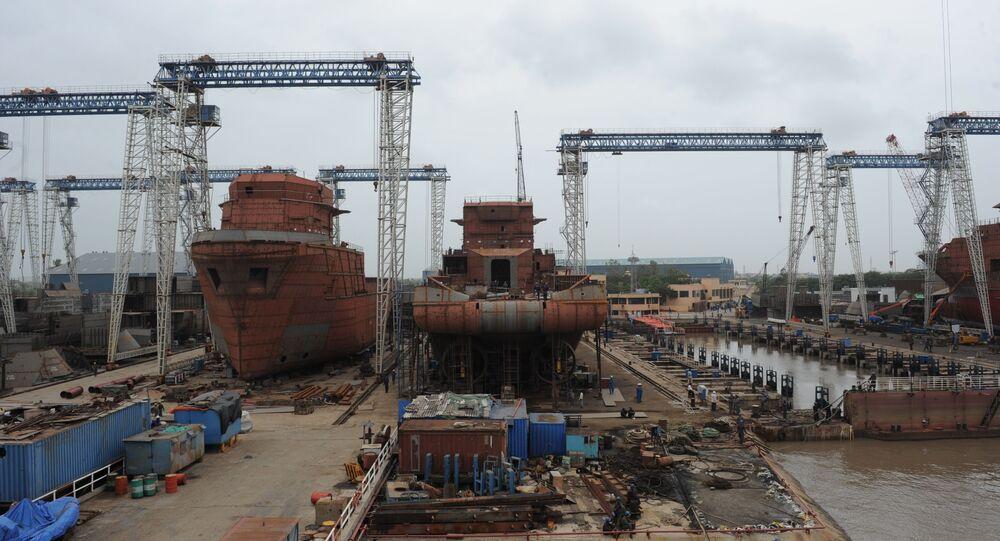 Indian workers build ships at the ABG Shipyard at Magdalla Port, near Surat around 280 Km from Ahmedabad. (File)