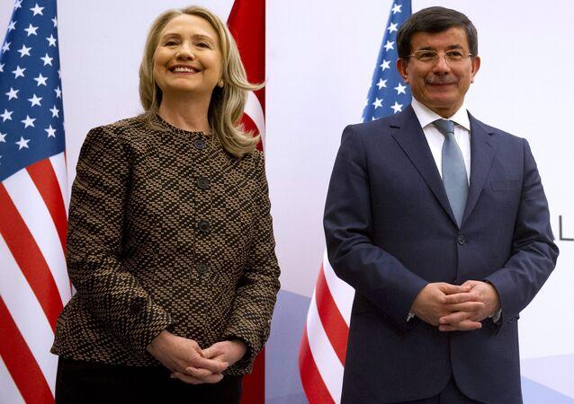 Turkish Foreign Minister Ahmet Davutoglu and US Secretary of State Hillary Rodham Clinton
