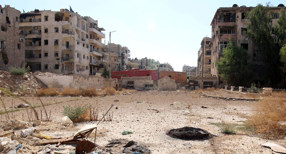 A view shows what is believed to be one of the roads that people would have to use to access one of the safe exit points opened for people wishing to leave rebel-held areas, in Aleppo's Bustan al-Qasr, Syria October 20, 2016.