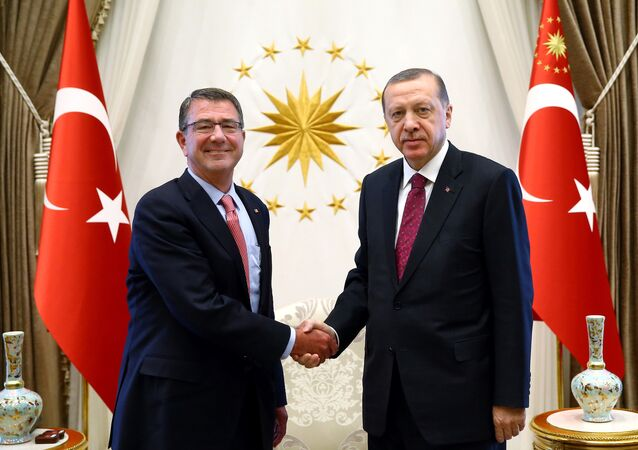 Turkey's President Tayyip Erdogan (R) shakes hands with US Defense Secretary Ash Carter at the Presidential Palace in Ankara, Turkey, October 21, 2016.