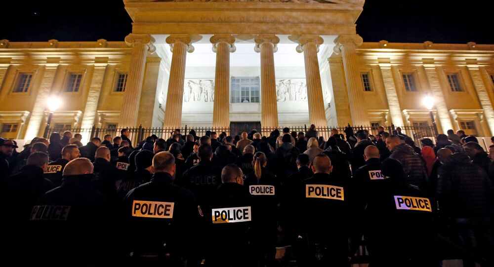 Police officers gather during an unauthorised protest against anti-police violence in front of the Marseille's courthouse, France, October 20, 2016.