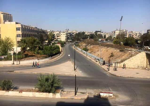 The area of the humanitarian corridor in Aleppo, Syria