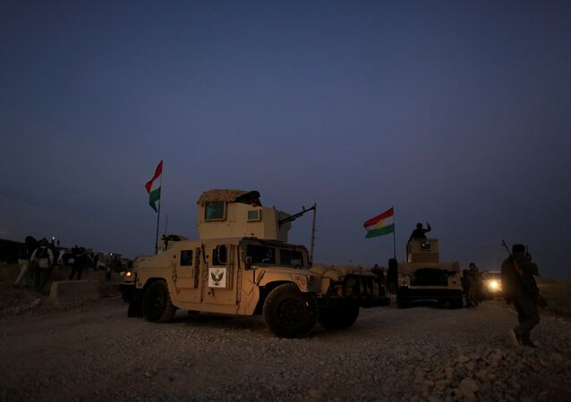 A kurdish peshmerga fighter look over as he stands on the top of the humvee in front of Islamic State position outside the town of Naweran near in Mosul, Iraq