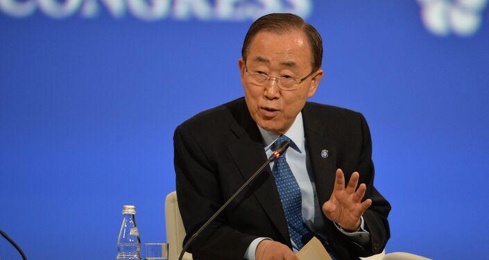 U.N. Secretary-General Ban Ki-moon speaks at the opening ceremony of the 20th St. Petersburg International Economic Forum. (File)