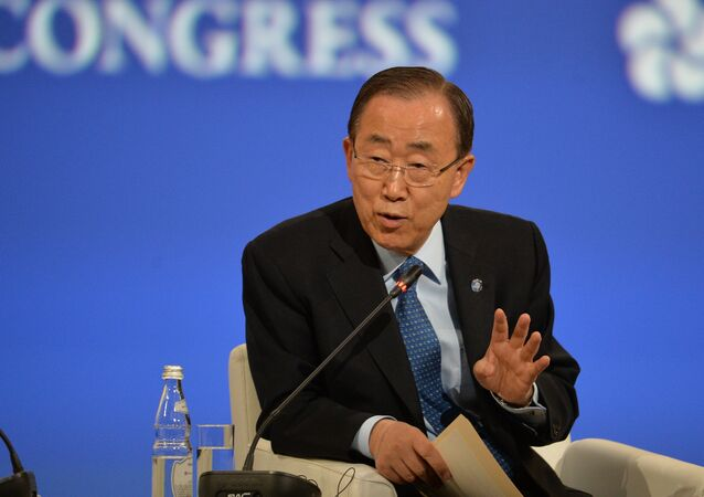 U.N. Secretary-General Ban Ki-moon speaks at the opening ceremony of the 20th St. Petersburg International Economic Forum. (File)