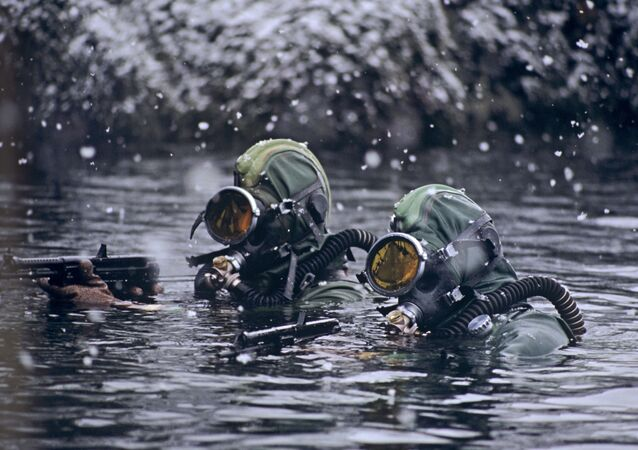 Soldiers of the Russian Northern Fleet's Underwater Sabotage Forces and Means (PDSS) perform a combat mission in the Barents Sea.