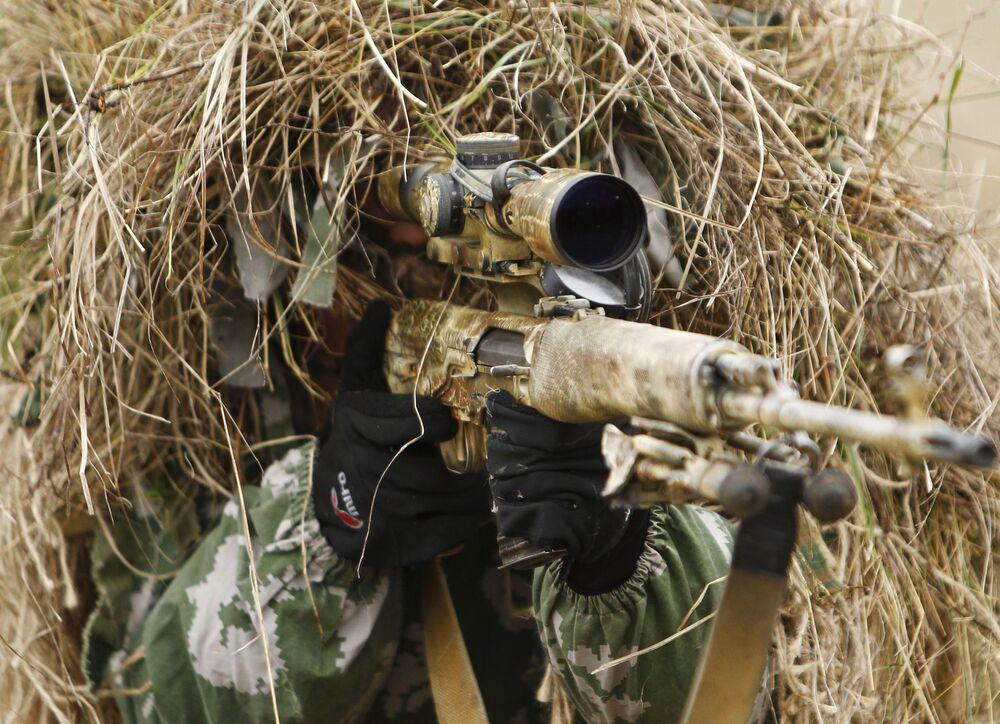 A sniper is seen during the Southern Military District's Special Purpose Brigade drills in the Krasnodar region.
