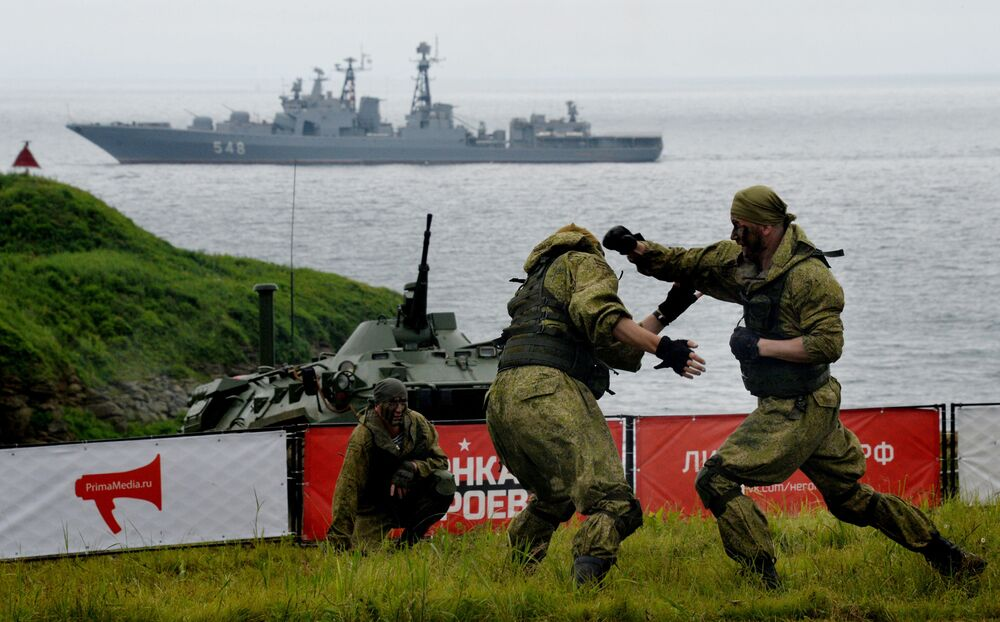 Marines of the Pacific Fleet participate in the Race of Heroes in Vladivostok at the Gornostai military training grounds. The Race of Heroes is a sports project with simulated combat operations.