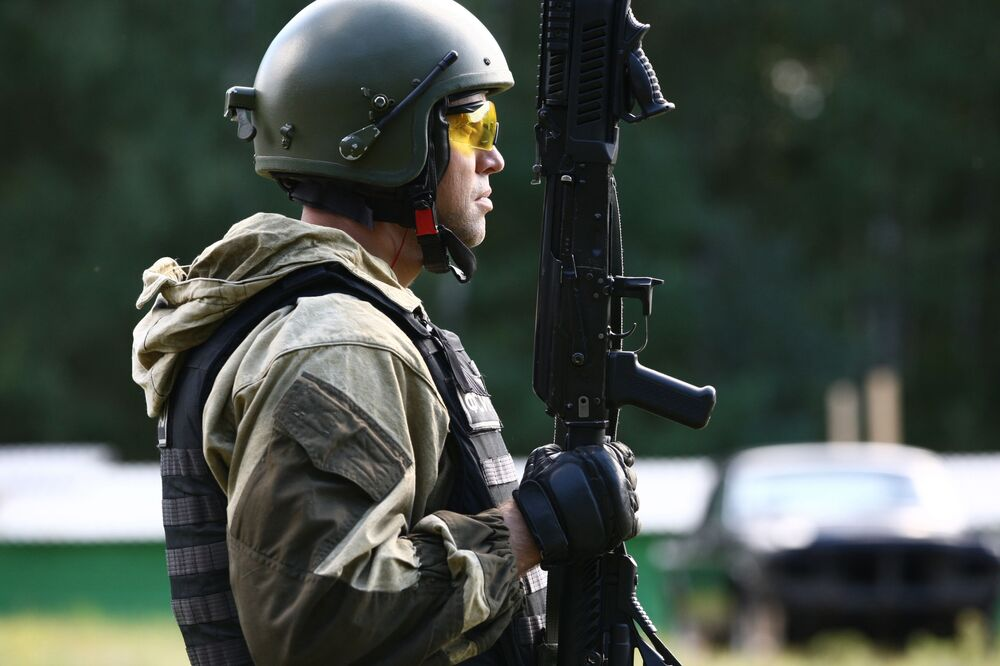 Member of the Open Championship among Special Forces troops on the practical shooting from small arms at the shooting range in the village of Yavas, the Republic of Mordovia.
