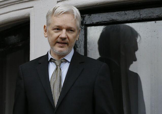 Wikileaks founder Julian Assange speaks from the balcony of the Ecuadorean Embassy in London (File)