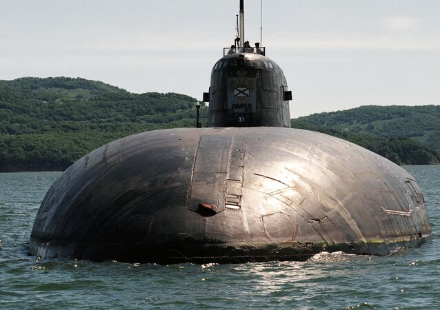 A nuclear-powered strategic missile submarine at sea