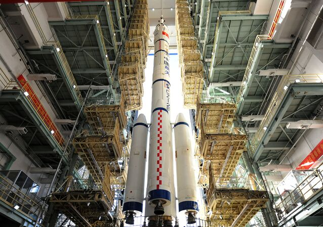 China's Long March rocket carrying the manned spacecraft Shenzhou-11 is seen at the launch centre in Jiuquan, China, October 10, 2016