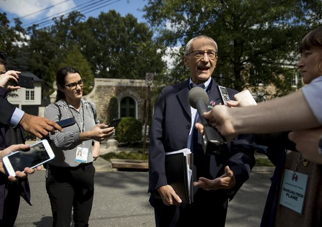Hillary Clinton's campaign manager John Podesta speaks to members of the media outside Democratic presidential candidate Hillary Clinton's home in Washington (File)