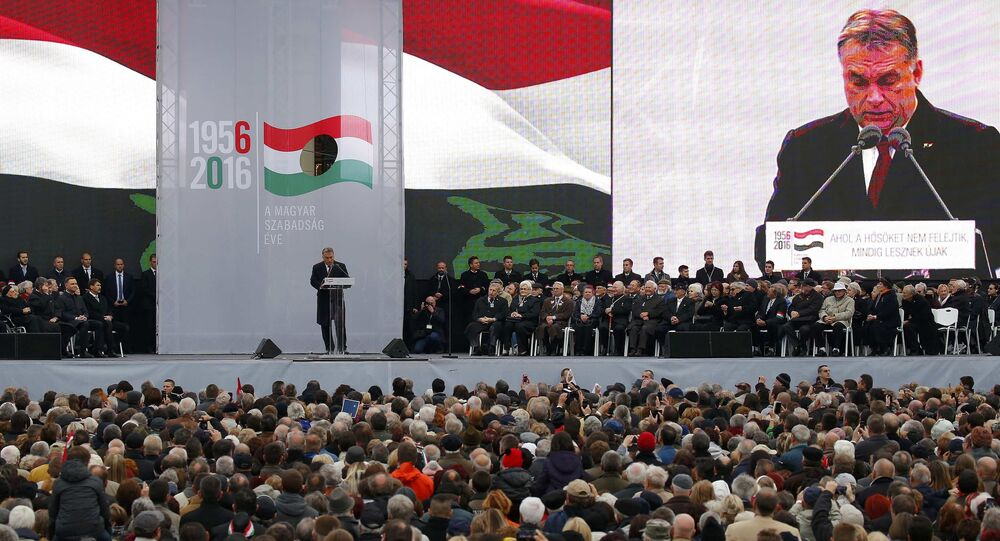Hungarian Prime Minister Viktor Orban speaks during a ceremony marking the 60th anniversary of 1956 anti-Communist uprising in Budapest, Hungary, October 23, 2016.
