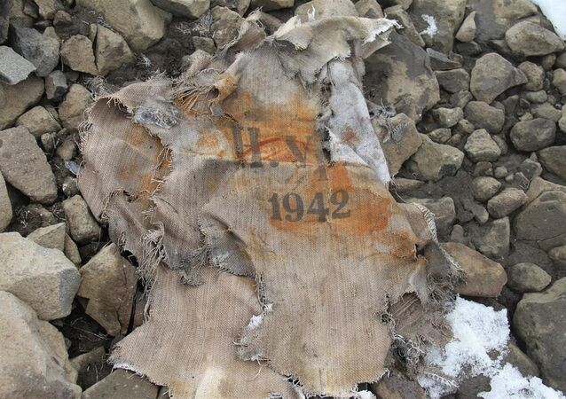 Part of a bag found at secret Nazi base in the Arctic on Alexandra Land in the Arctic Circle