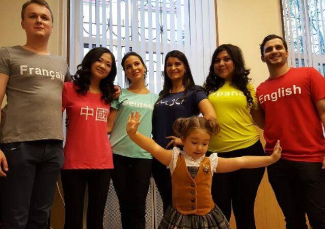 Bella Devyatkina with her tutors