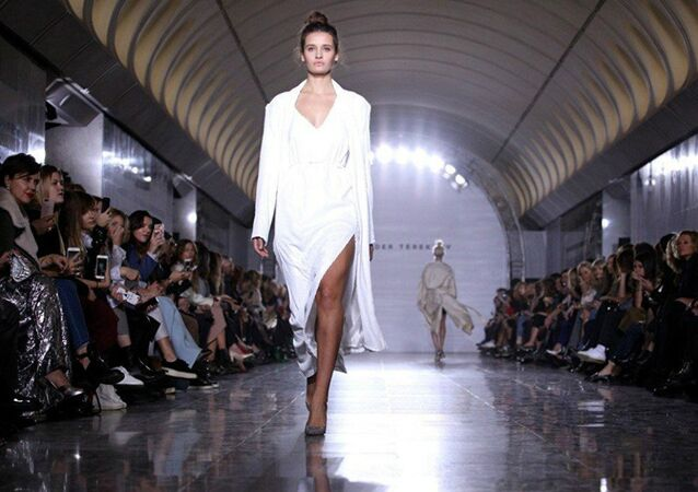 A fashion show of the Alexander Terekhov collection at Dostoyevskaya metro station in Moscow