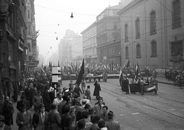 March of protesters on 25th October 1956. Hungary