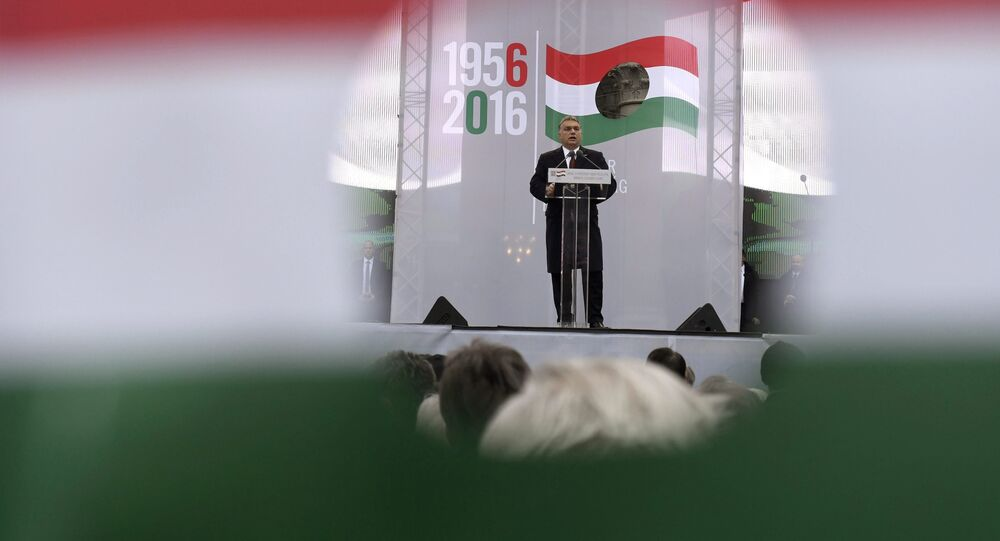 Hungarian Prime Minister Viktor Orban delivers his address as pictured through a hole on the national flag during the state commemoration ceremony of the 1956 Hungarian revolution and freedom fight against communism and Soviet rule in front of the Parliament building in downtown Budapest, Hungary, Sunday, Oct. 23, 2016