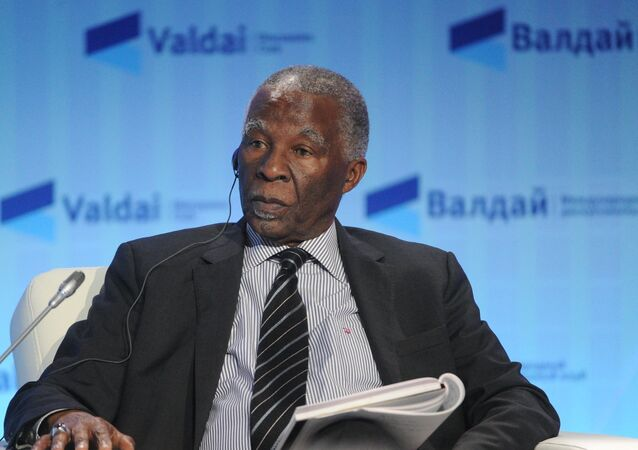 Ex-President of South Africa Thabo Mbeki takes part in the Plenary Session during 13th Annual Meeting of the Valdai Discussion Club in Sochi