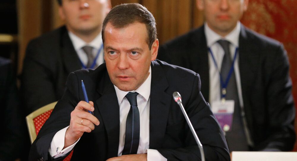 Russian Prime Minister Dmitri Medvedev at an extended session of the Eurasian Intergovernmental Council with the participation of delegations