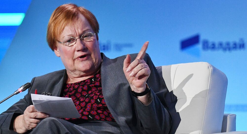 Minister of Foreign Affairs of Finland Tarja Halonen (ex-President of Finland) at the Plenary Session during 13th Annual Meeting of the Valdai Discussion Club in Sochi.