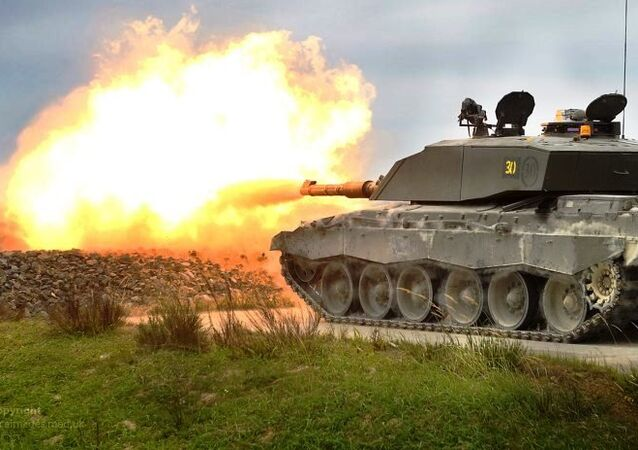 The UK's Challenger 2 tank live firing during exercise