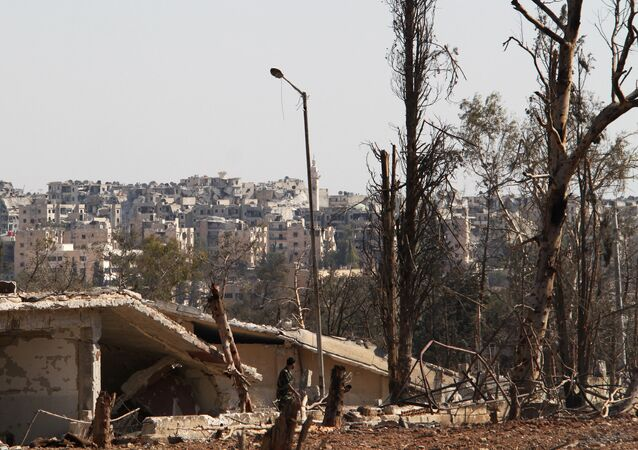 The territory of the military academies in Aleppo cleaned up by the Syrian army from terrorists. (File)
