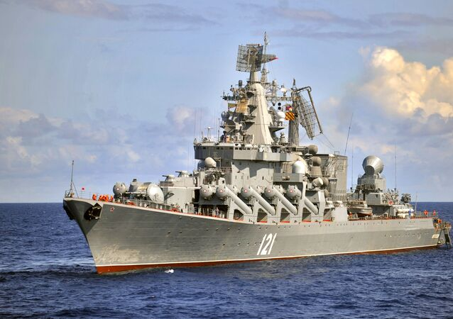 The Moskva guided missile cruiser, the flagship of Russia's Black Sea Fleet. (File)