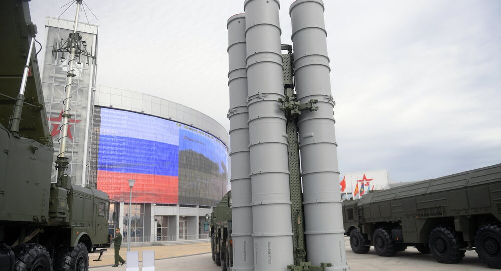 An S-400 Triumf surface-to-air missile system displayed during the international military-technical forum ARMY-2016 at the Patriot Congress and Exhibition Center in the Military Patriotic Park of Culture and Recreation of the Russian Armed Forces, near Moscow
