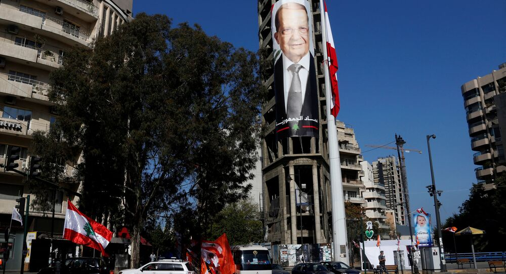 A picture of Christian politician and FPM founder Michel Aoun is seen on a building prior to presidential elections in Beirut, Lebanon October 30, 2016