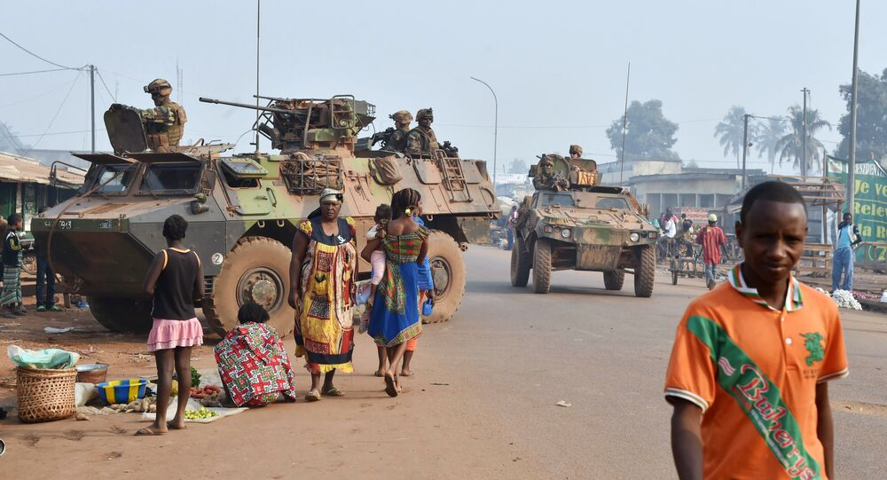 French Sangaris forces patrol in muslim district of PK 5 in Bangui as people go to the polls to take part in the Central African Republic second round of the presidential and legislative elections on February 14, 2016
