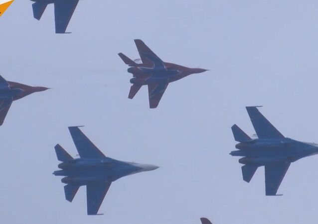 Russian Knights Perform At Airshow China