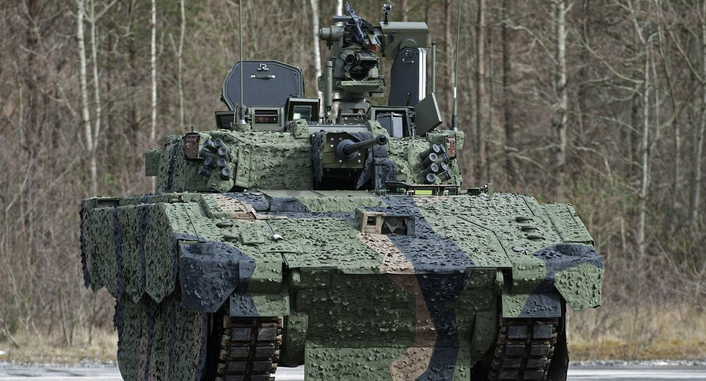 New AJAX prototype shown near its future assembly site in Merthyr Tydfil, Wales