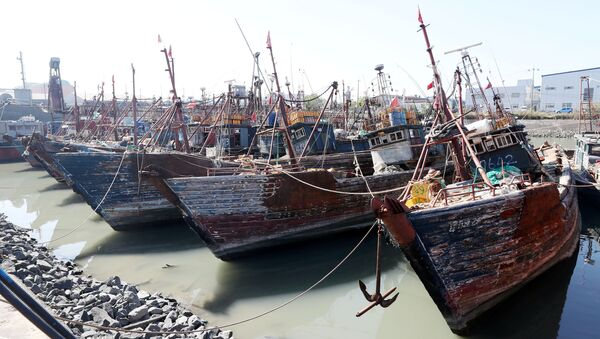 Chinese fishing boats captured by South Korean coast guard are seen at a port in Incheon, South Korea, October 10, 2016 - Sputnik International