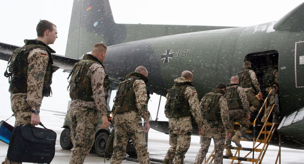 German soldiers enter a Transall C-160 cargo plane at the military airbase Penzing, 50 kilometers (28 miles) west of Munich, southern Germany. File photo