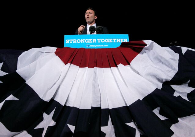 U.S. Congressman Patrick Murphy, who is the Democratic candidate for the U.S. Senate running against U.S. Senator Marco Rubio, speaks at a campaign rally for U.S. Democratic presidential nominee Hillary Clinton in Ft. Lauderdale, Florida, U.S. November 1, 2016