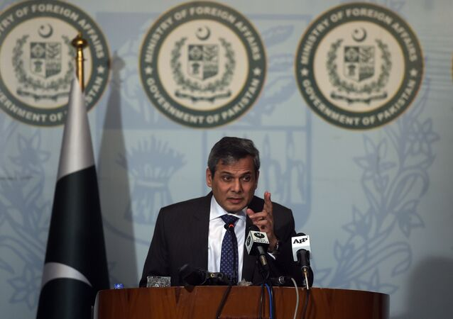 Spokesman of the Pakistan's Foreign Ministry Nafees Zakaria speaks at a press conference in Islamabad.